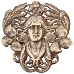 Pale Copper Tone Art Nouveau Lady and Flower Brooch