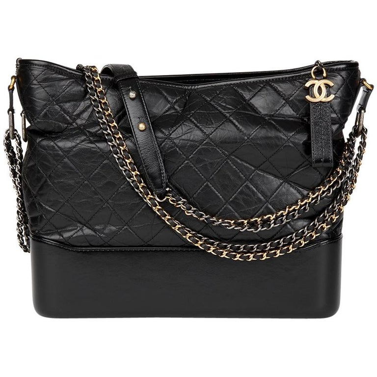 a04b42ad7724 2017 Chanel Black Quilted Aged Calfskin Leather Large Gabrielle Hobo Bag  For Sale at 1stdibs