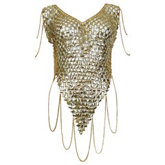 1970s Gold Toned Rhodhoid and Chains Top