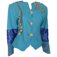 Turquoise leather sequin embroidered jacket