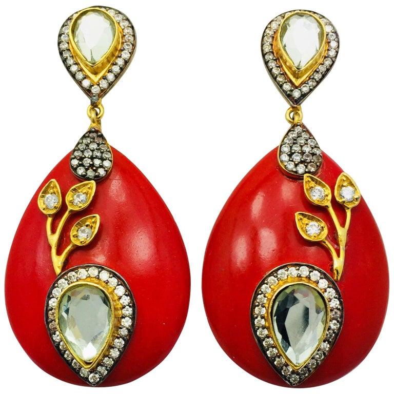 Resin Red Leaf Earrings  For Sale