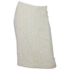 Chanel Beige Tweed Skirt Sz FR48