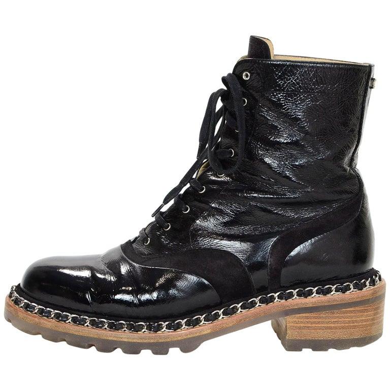 Chanel Black Patent & Chain Trim Boots Sz 40.5