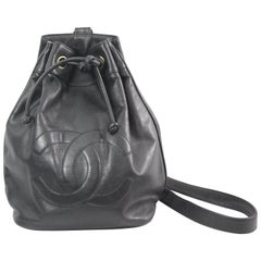 Chanel Vintage Black Caviar Leather Backpack