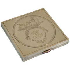 Hermes Vintage Gold Plated Silver Make up Box