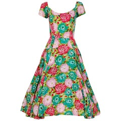 Perullo Watercolor Roses Floral Print Silk Pleated Circle Skirt Dress, 1950s