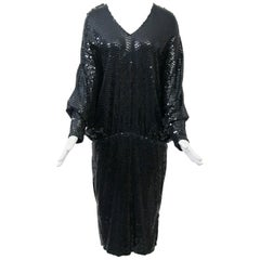 1980s Black Sequin Dress