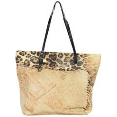 Multicolor Roberto Cavalli Leather & Canvas Tote Bag