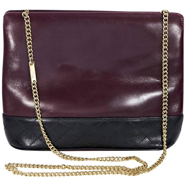 1de3f3867e Burgundy and Black Vintage Salvatore Ferragamo Shoulder Bag For Sale ...