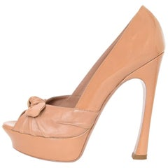 YSL Nude Patent & Leather Open-Toe Bow Pumps Sz 39