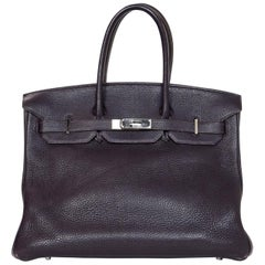 Hermes Purple Togo Leather 35cm Birkin Bag with Palladium Hardware