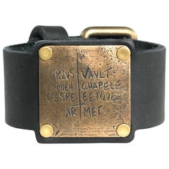 Joan of Arc Bronze and Leather Cuff Bracelet