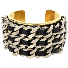 Stamerra Black Leather Chain-Link Cuff Bracelet with Box & Dust Bag