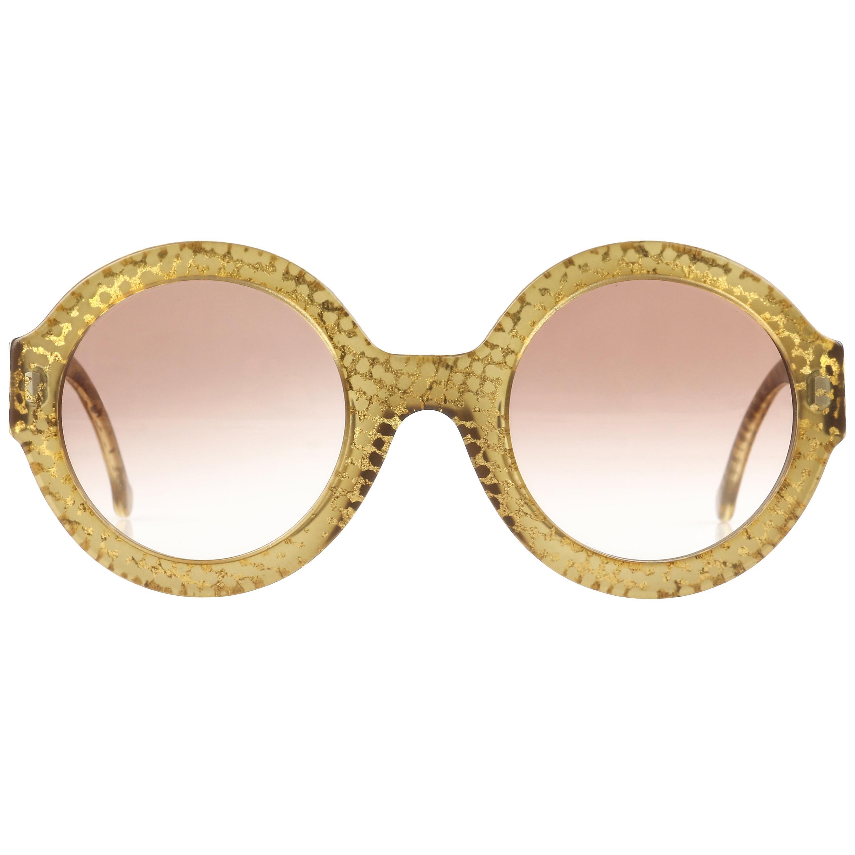 CHRISTIAN DIOR S/S 1992 Translucent Gold Dot Round Optyl Frame Sunglasses 2567