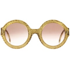 CHRISTIAN DIOR S/S 1992 Translucent Gold Dot Round Optyl Frame Sunglasses 2567