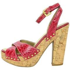Prada Red Crocodile & Cork Sandals Sz 37