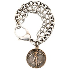 Sterling and bronze Winged Victory Angel Coin Bracelet