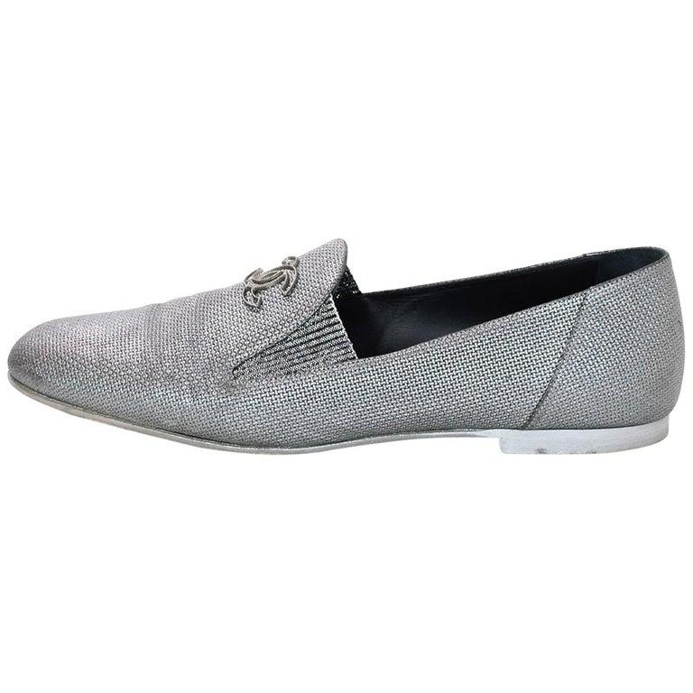 Chanel Dark Silver Raffia CC Loafers