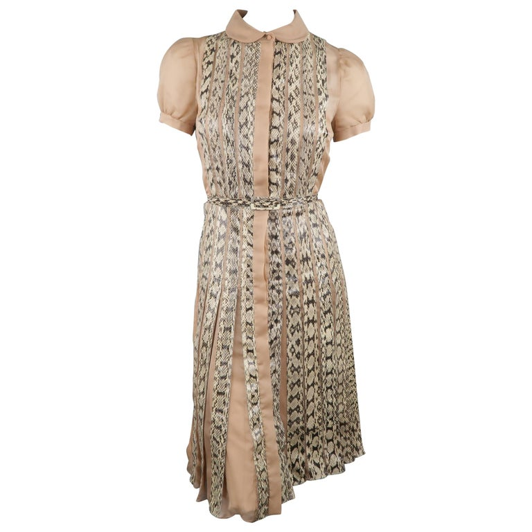 Valentino Silk and Snake Skin Pleated Cocktail Dress, Spring 2013 Runway  For Sale