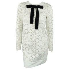TOM FORD Dress - White Leather Lace Velvet Bow Shift Cocktail Dress