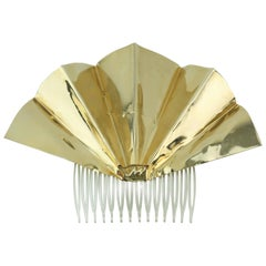 Sculptural 1970's Lee Menichetti Brass Fan Hair Ornament