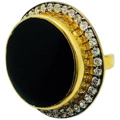 Meghna Jewels Handcrafted Agate Druzy Ring Black