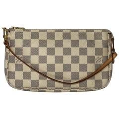 Louis Vuitton Damier Azur Pochette Accessories Wristlet Handbag