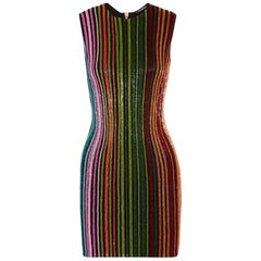 Balmain Beaded Stripe Mini Dress