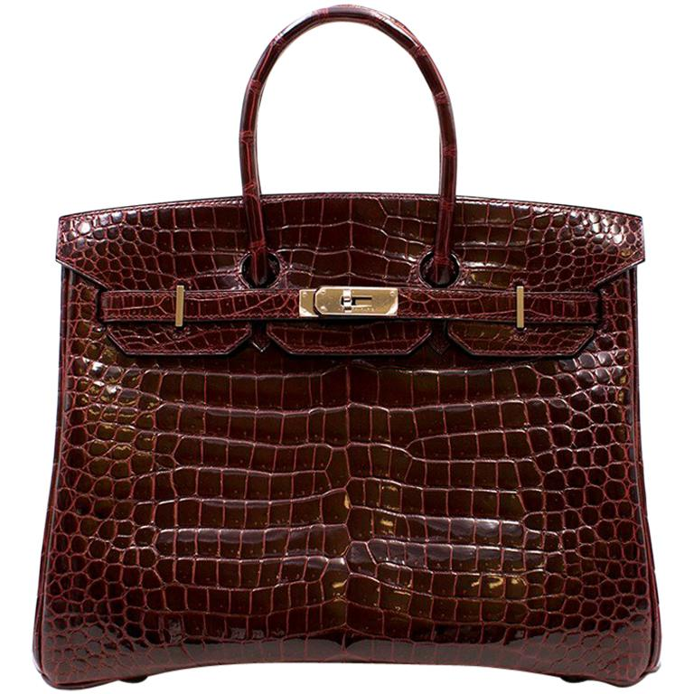 Hermes Bordeaux Porosus Crocodile 35cm Birkin Bag
