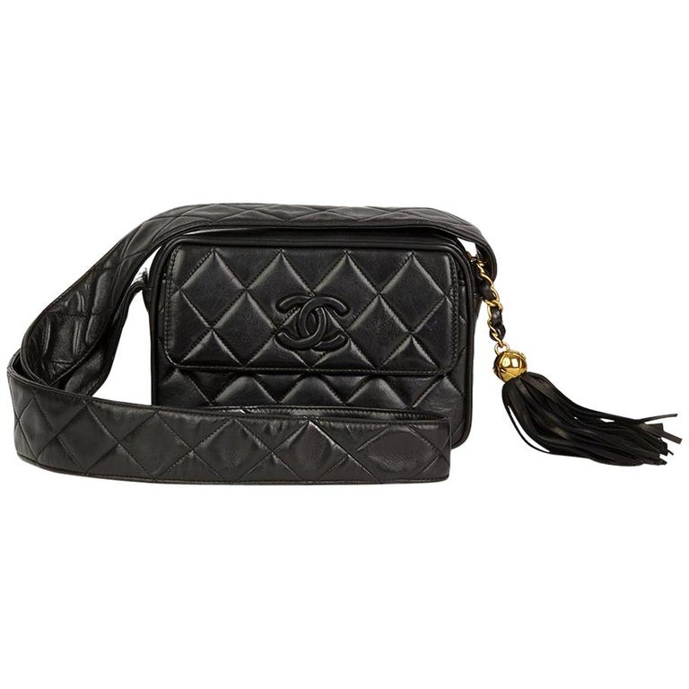 98fc648cd76a 1994 Chanel Black Quilted Lambskin Vintage Leather Logo Fringe Camera Bag  For Sale