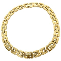 Givenchy 1980s Vintage Gold Plated 'G' Choker Collar Necklace