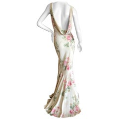 John Galliano 1990's Bias Cut Floral Dress with Draped Back and Train