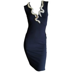 Roberto Cavalli Vintage Black Bodycon Dress w Crystal Embellished Snake Collar