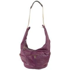 Chloe Purple Leather Triple Chain Milton Hobo Shoulder Bag