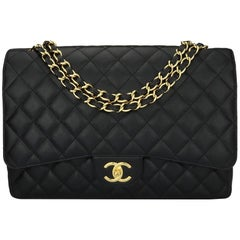 CHANEL Black Caviar Maxi Double Flap with Gold Hardware 2011