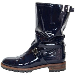 Christian Dior Navy Patent Boots Sz 40