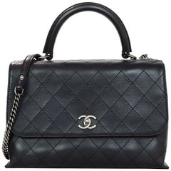 Chanel Black Stitched Urban Calfskin Luxury Top Handle Bag