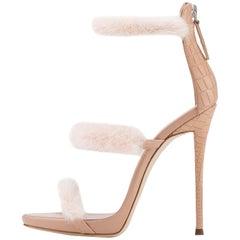 Giuseppe Zanotti Nude Blush Leather Fur Evening Sandal Heels