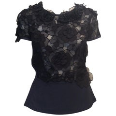 Louis Vuitton Navy and Black Semi Sheer Top w/ Flowers and Beads Sz Fr38/Us6