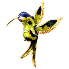 20th Century Gold Plate Enamel & Crystal Hummingbird Brooch