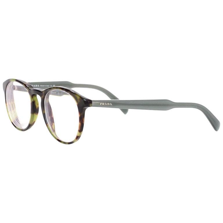 204685b3468 Prada Green Tortoise Prescription Eyeglasses with Case For Sale at ...