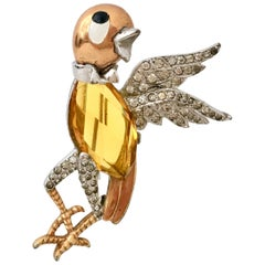 20th Century Silver Vermeil Faceted Glass & Enamel Bird Brooch By, Boucher