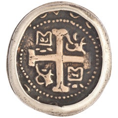 Sterling and Bronze Greek Cross Coin Ring