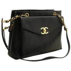 CHANEL Caviar Large Chain Shoulder Bag Black Leather Gold Zipper