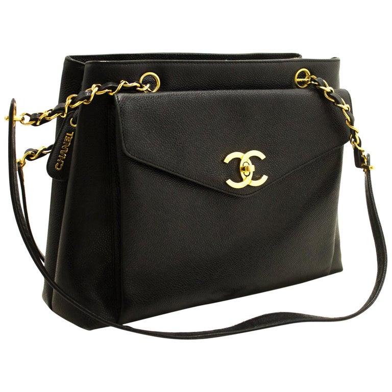 b3a19a0b CHANEL Caviar Large Chain Shoulder Bag Black Leather Gold Zipper