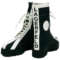 Karl Lagerfeld Vintage Black White Lace Up Combat Boots