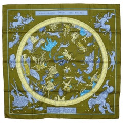 Hermes by Loic Dubigeon Hemisphaerium Coeli Boreale Vintage Silk Carre Scarf