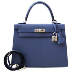Hermes Epsom Sellier 25 Blue Brighton PHW Kelly Bag