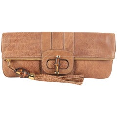 Gucci Tan Leather Bamboo Tassel Lucy Folding Clutch Bag