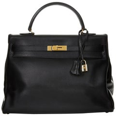 1997 Hermès Black Evergrain Leather Vintage Kelly 35cm Retourne